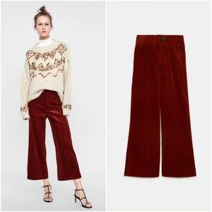 NWT Zara Size M Wide Leg Corduroy Pants